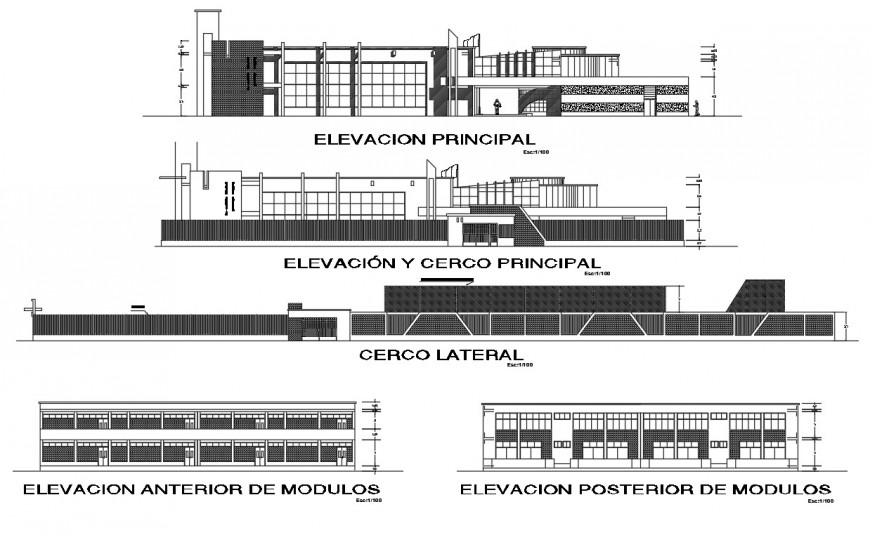 All sided elevation and section drawing details of primary school dwg file
