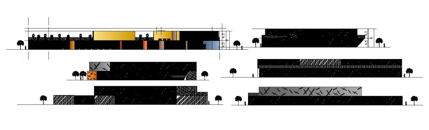 All sided elevation and section drawing details of two story restaurant dwg file