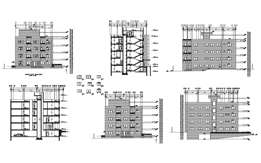 All sided elevation and section drawing details residential building dwg file