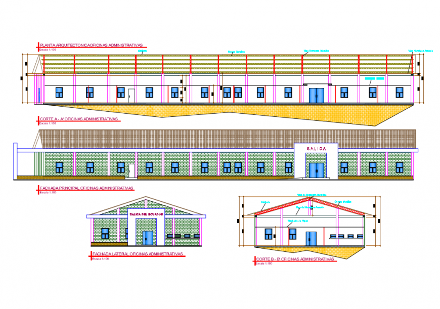 All sided elevation and sectional details of administration office dwg file