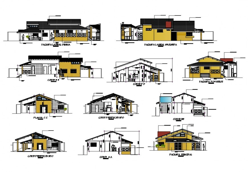 All sided elevation and sectional details of bungalow cad drawing details dwg file