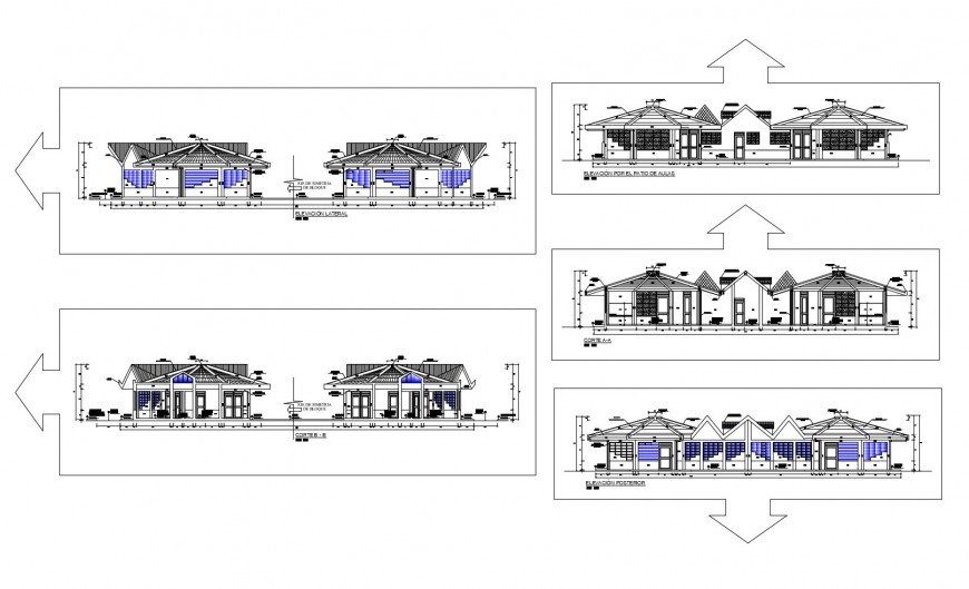 All sided elevation and sectional details of classic restaurant dwg file