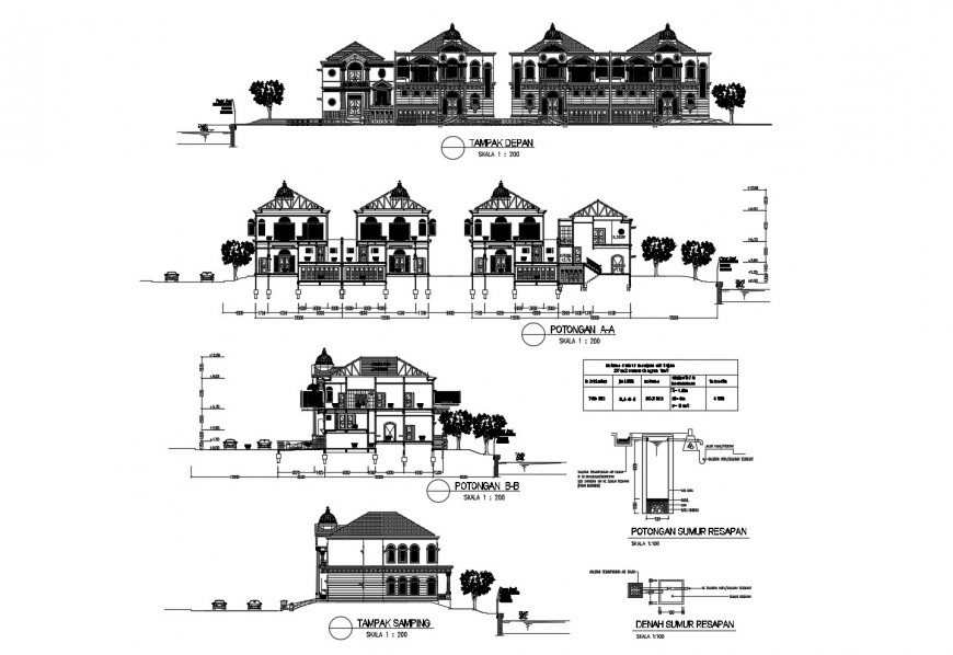 All sided elevation and sectional details of classical residential apartment building dwg file