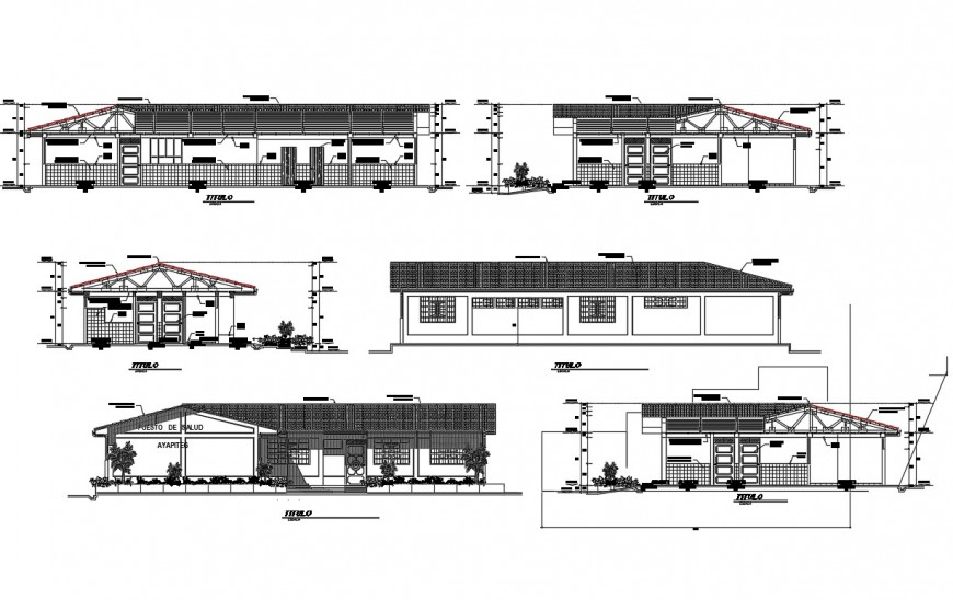 All sided elevation and sectional details of health post building dwg file