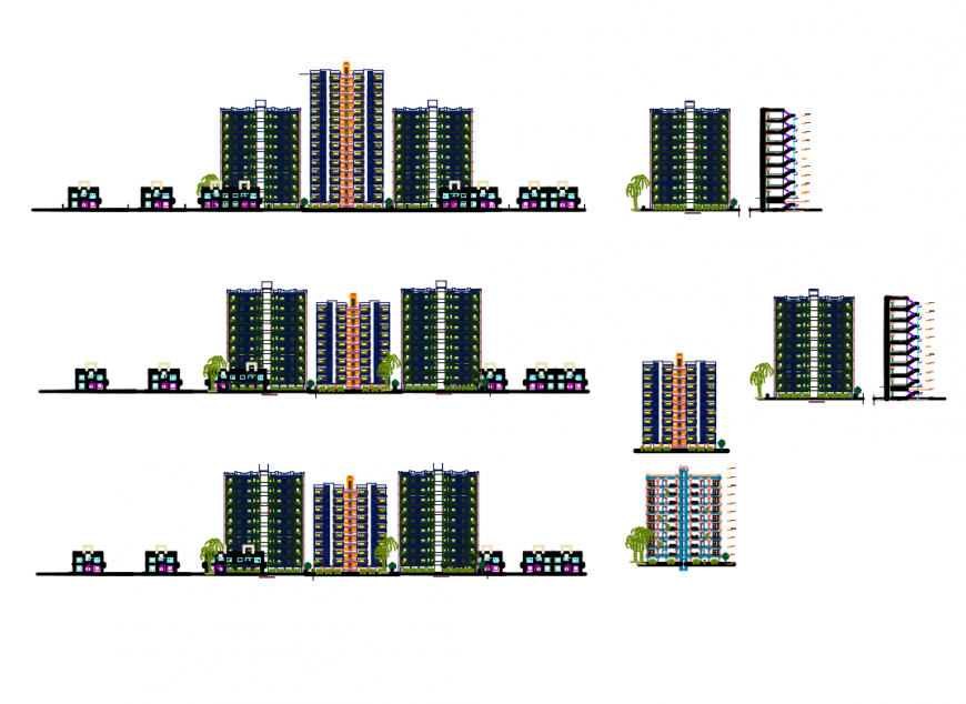 All sided elevation and sectional details of multi-family housing apartment dwg file