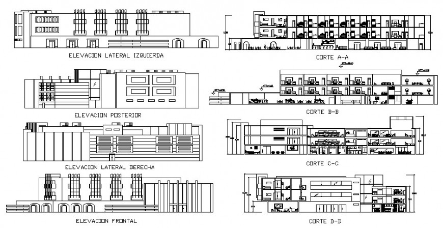 All sided elevation and sectional details of multi-story hotel building dwg file