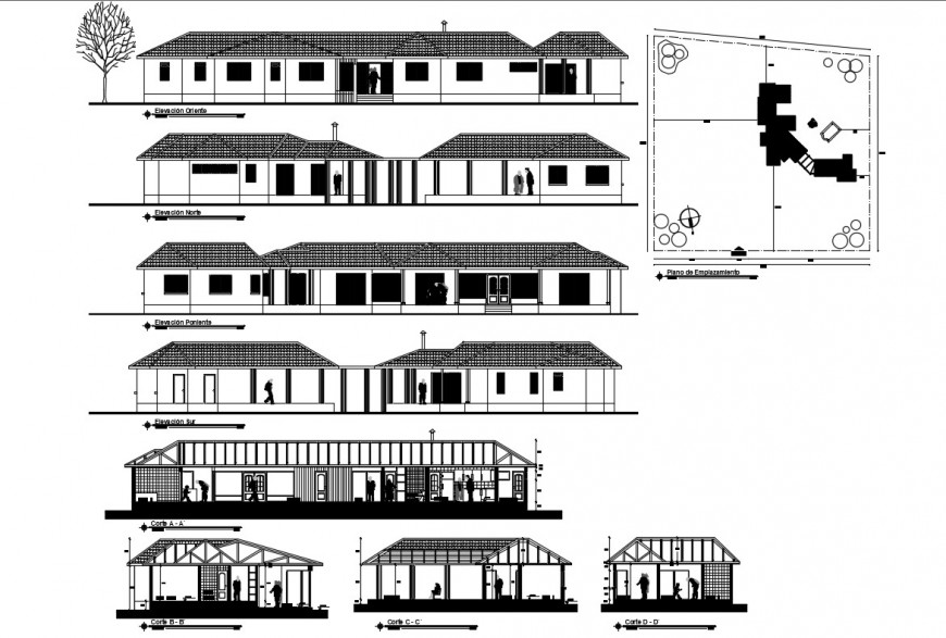 All sided elevation and sectional details of one family house dwg file