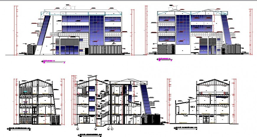 All sided elevation and sectional details of regional office building dwg file