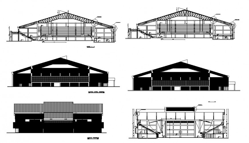 All sided elevation and sectional details of sports court dwg file