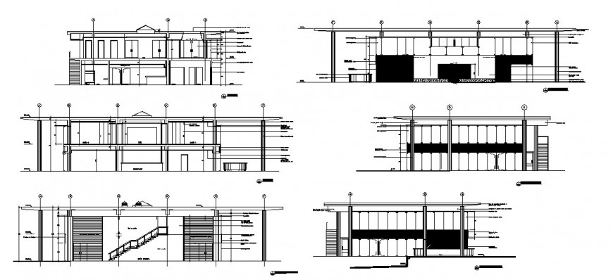 All sided elevation and sectional details of two-story residential house dwg file