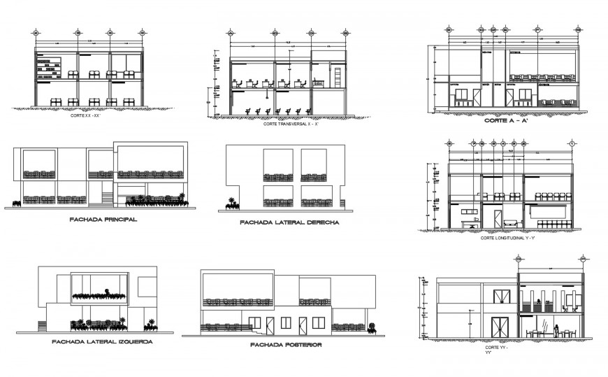 All sided elevation and sectional drawing details of high school building dwg file