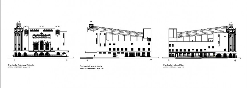 All sided elevation details of classic multi-story auditorium hall dwg file