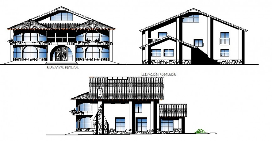 All sided elevation details of luxuries bungalow dwg file