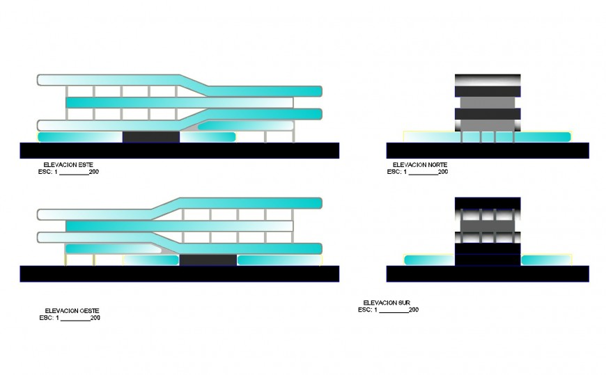 All sided elevation details of multi-level hotel building dwg file