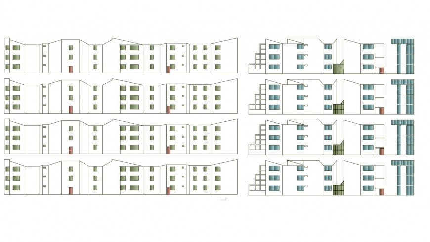 All sided elevation details of multi-story residential apartment building dwg file