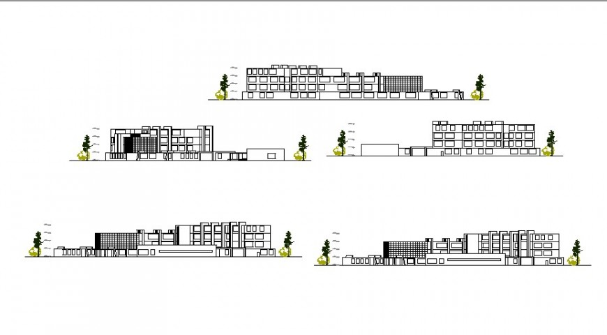 All sided elevation details of multi-story school building dwg file