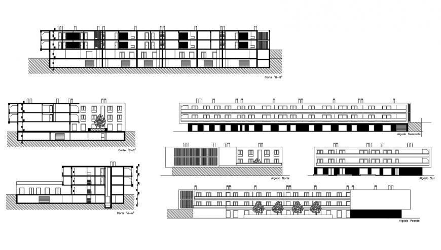 All sided elevation drawing details of admin multi-story office building dwg file