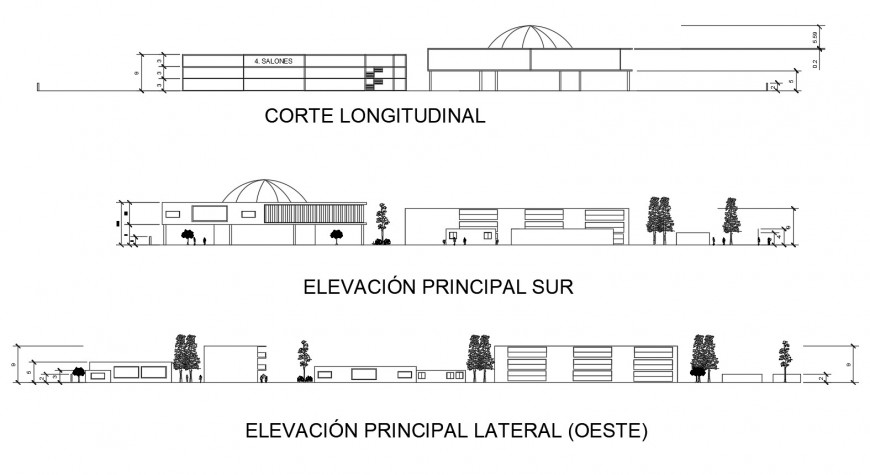 All sided elevation drawing details of architectonic school building dwg file