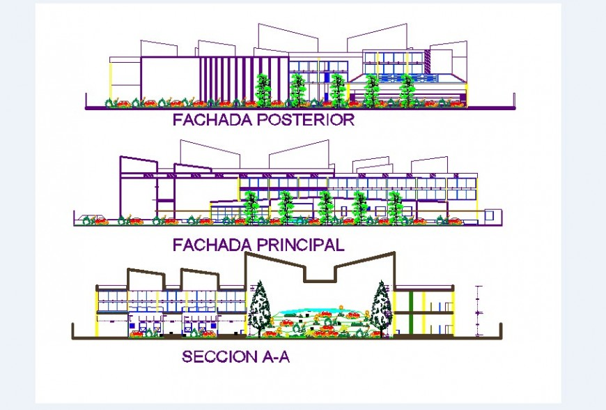 All sided elevation drawing details of child care and clubhouse dwg file