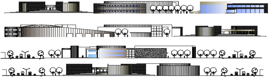 All sided elevation drawing details of community center dwg file