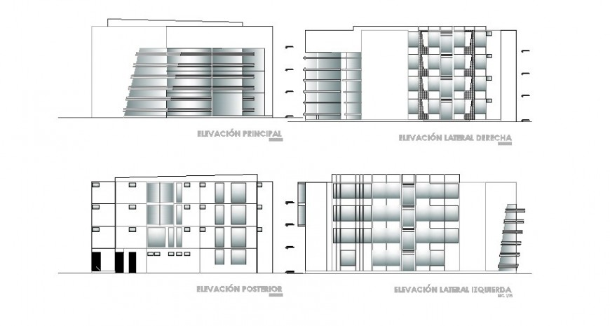 All sided elevation drawing details of four story apartment building dwg file