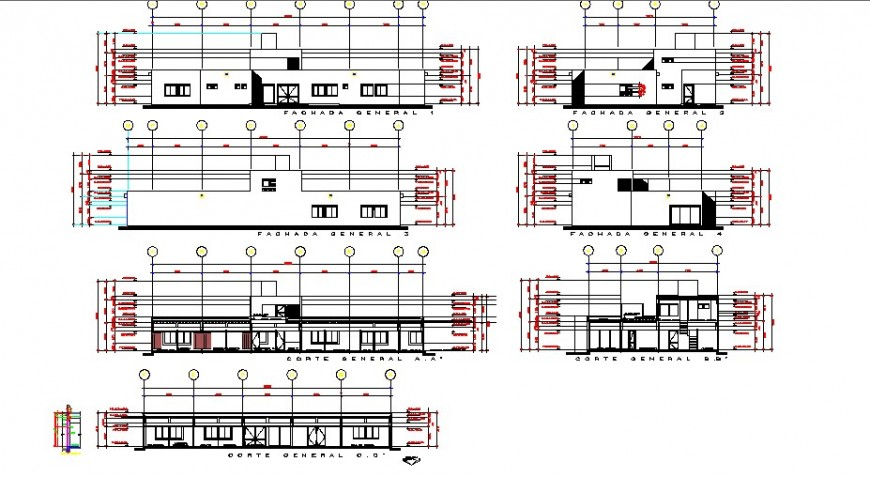 All sided elevation drawing details of general hospital dwg file