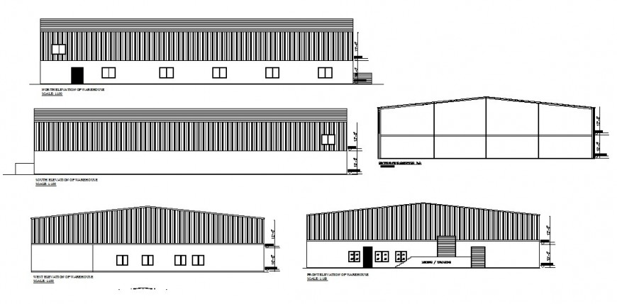 All sided elevation drawing details of industrial warehouse building dwg file