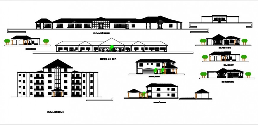 All sided elevation drawing details of multi-familiar building and house dwg file