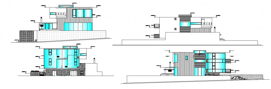 All sided elevation drawing details of multi-familiar residential bungalow dwg file