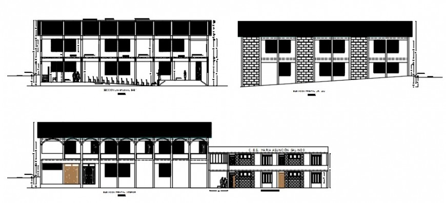 All sided elevation drawing details of multi-purpose hall dwg file