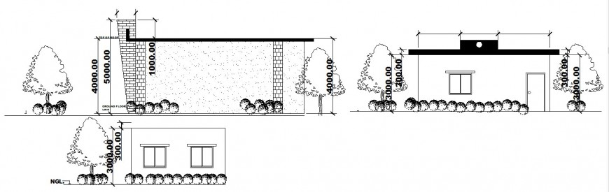 All sided elevation drawing details of single story restaurant cad drawing details dwg file