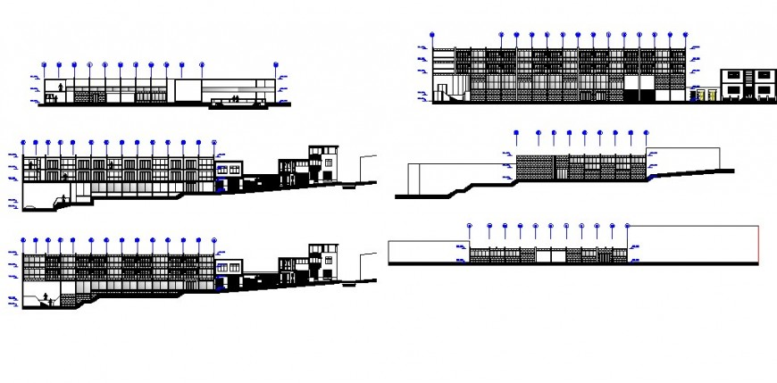 All sided elevation of multi-story luxuries hotel cad drawing details dwg file