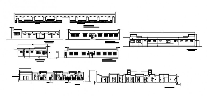 All sided elevations and section drawing details of neuro psychiatric hospital dwg file