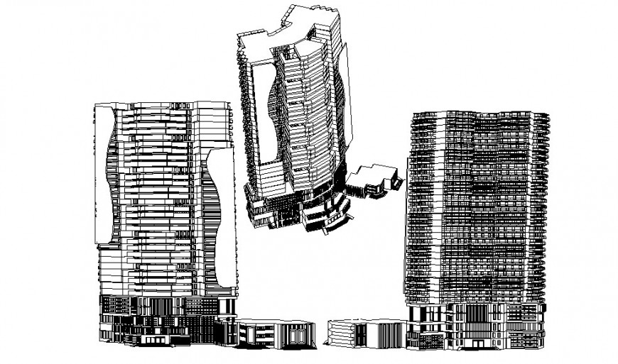 All sided isometric elevation drawing details of multi-story five star hotel building dwg file