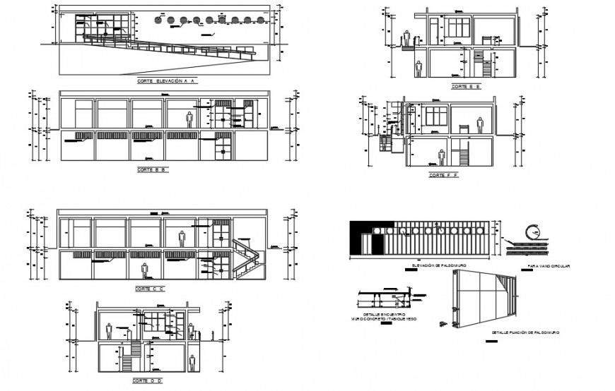 All sided section and auto-cad drawing details of local hospital dwg file