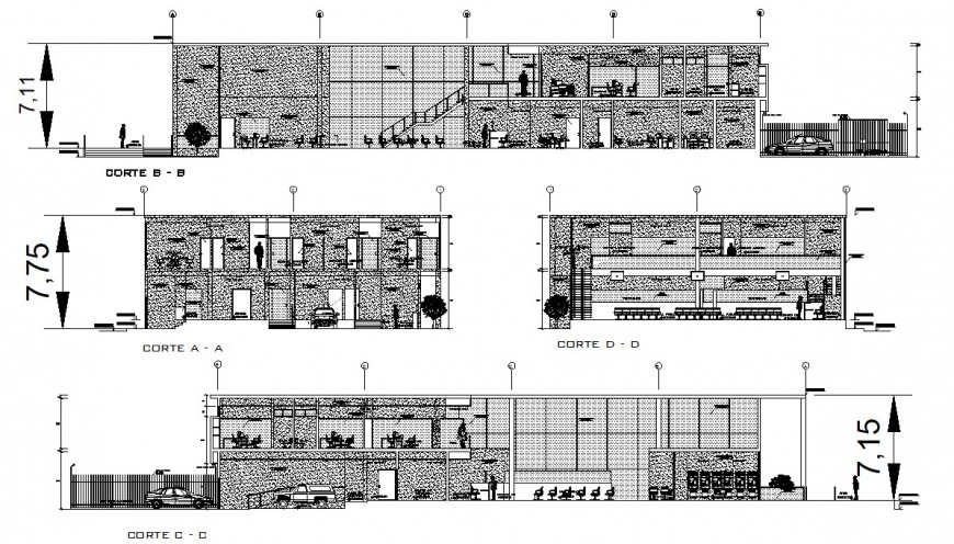 All sided section drawing details of bank agency office building dwg file