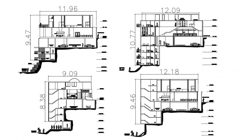 All sided section drawing details of multi-level four star hotel dwg file
