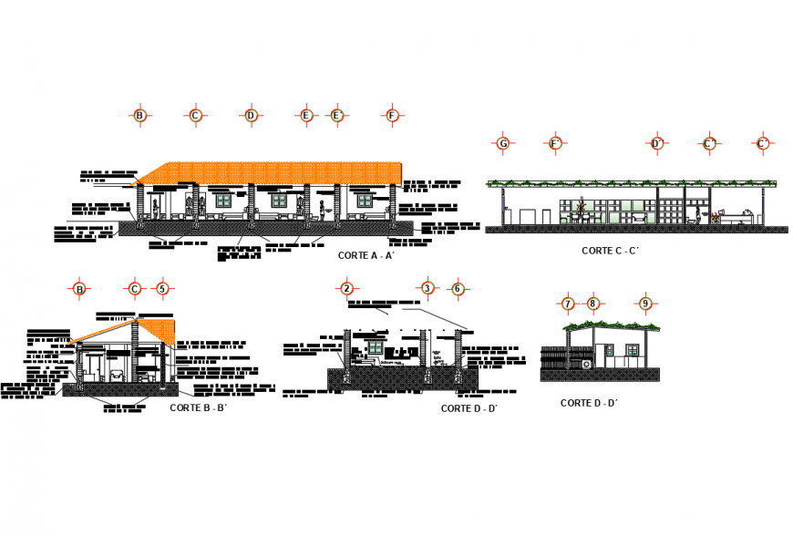 All sided sectional details of adobe one family house dwg file
