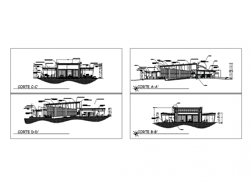 All sided sectional details of amphi theater cad drawing details dwg file