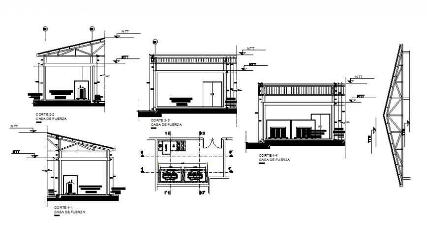 All sided sectional details of force house cad drawing details dwg file