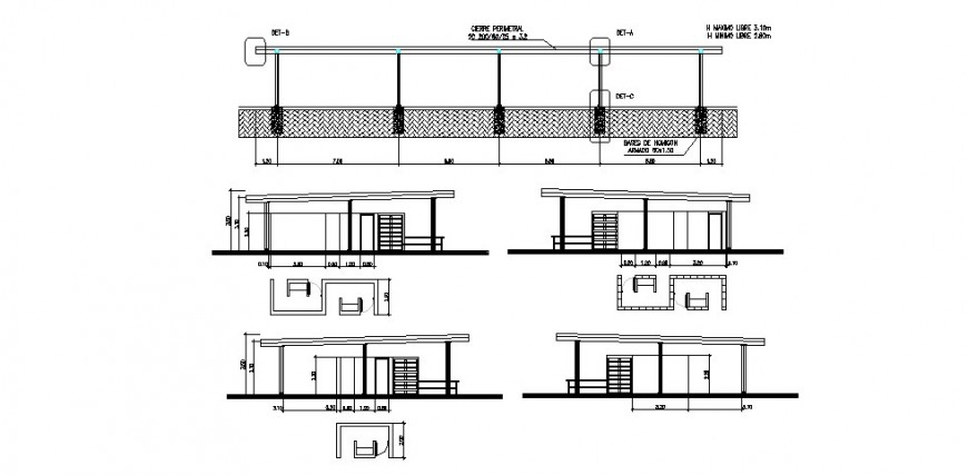 All sided sectional details of processing plant building dwg file