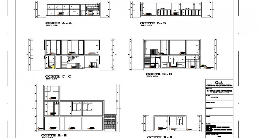 All sided sectional details of two-flooring office building dwg file