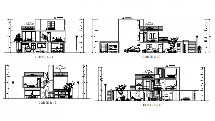 All sided sectional details of two-level house dwg file