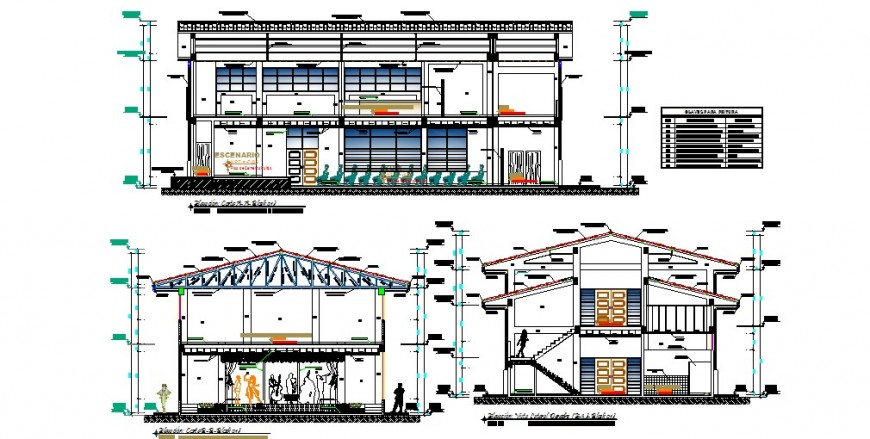 All sided sectional details of two-story auditorium hall dwg file
