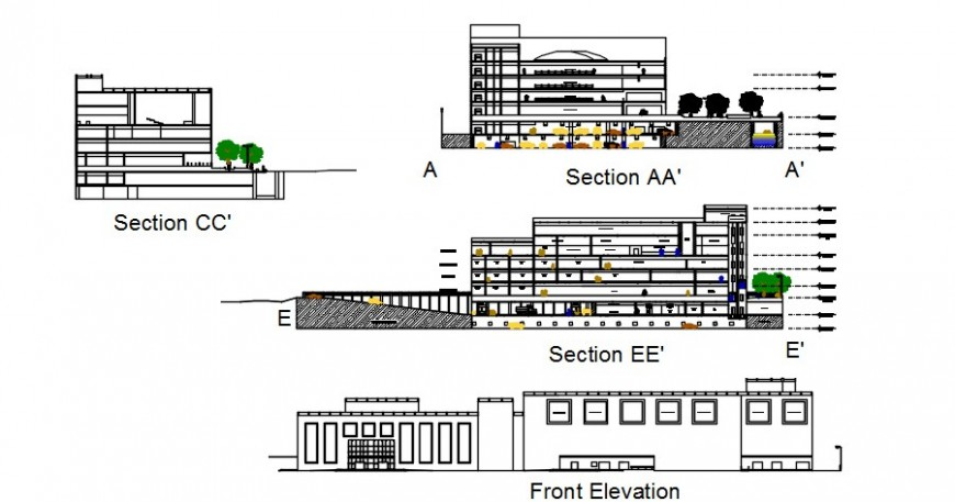 All sided sectional drawing details of multi-story shopping and commercial building dwg file