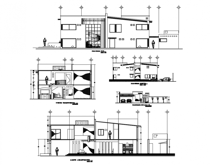 All sided sectional view details of two flooring one family house dwg file