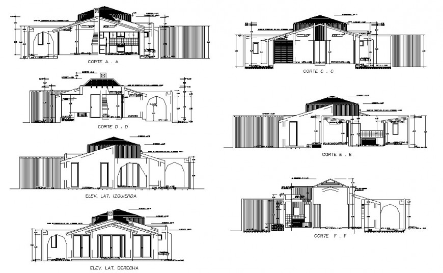 All sided sections and cut elevation details of residential house dwg file