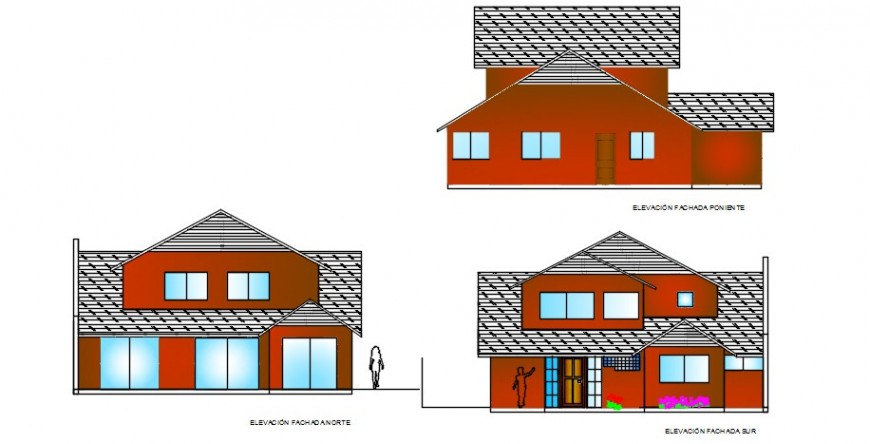 All sides elevation structure of house file