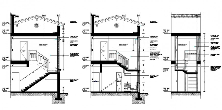 All three sided section drawing details of luxuries villa dwg file