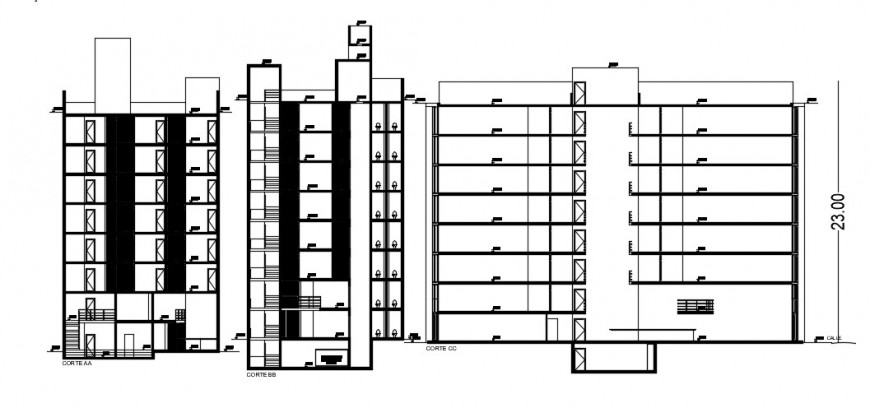 All three sided section drawing details of multi-level office building dwg file